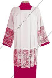Veste Cerimoniário Fucsia com renda liturgica